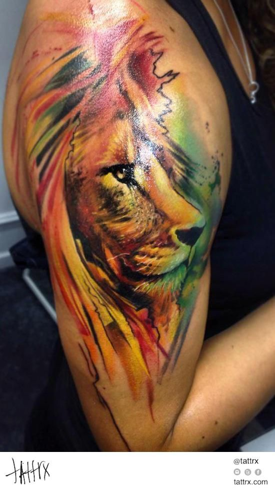 f58164a1a710d Water Color Tattoo (399) Adam Kremer - Lion | Water Color Tattoos ...