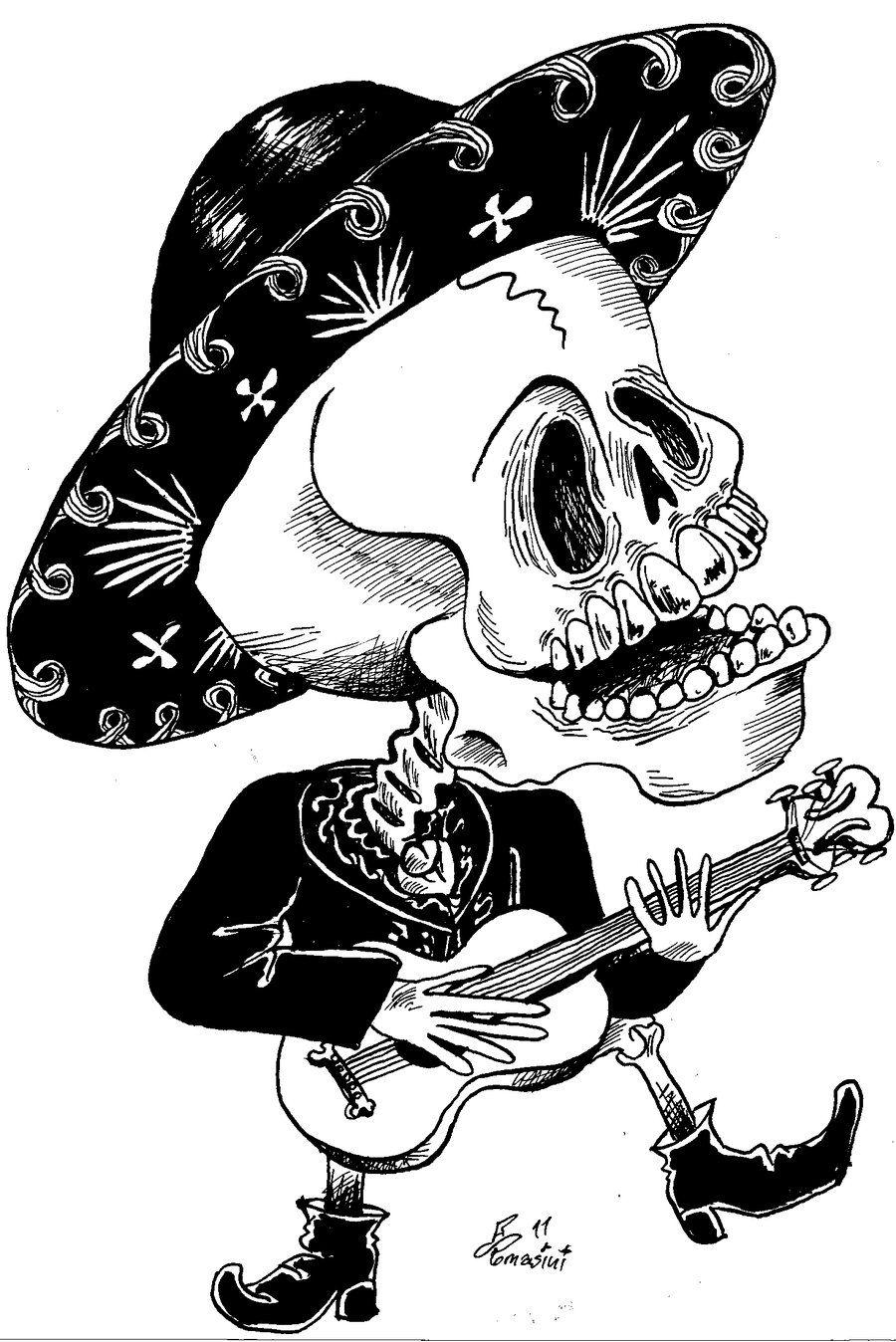 Calavera Mariachi By Diegotomasinidibrujo On Deviantart Swans Art Cartoon Art Punk Art