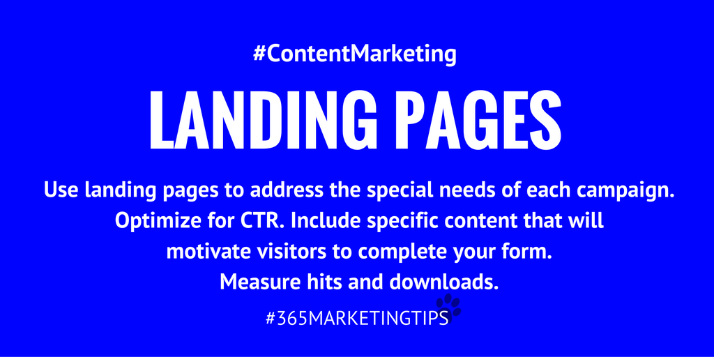 Are you creating special landing pages for your promotions? #contentmarketing #digitalmarketing #CTR #analytics #365MarketingTips:
