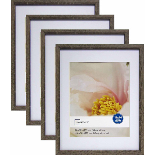 Mainstays Linear 11 X 14 Matted To 8 X 10 Rustic Frame Set Of 4 Walmart Com Rustic Frames Rustic Picture Frames Picture Frame Mat