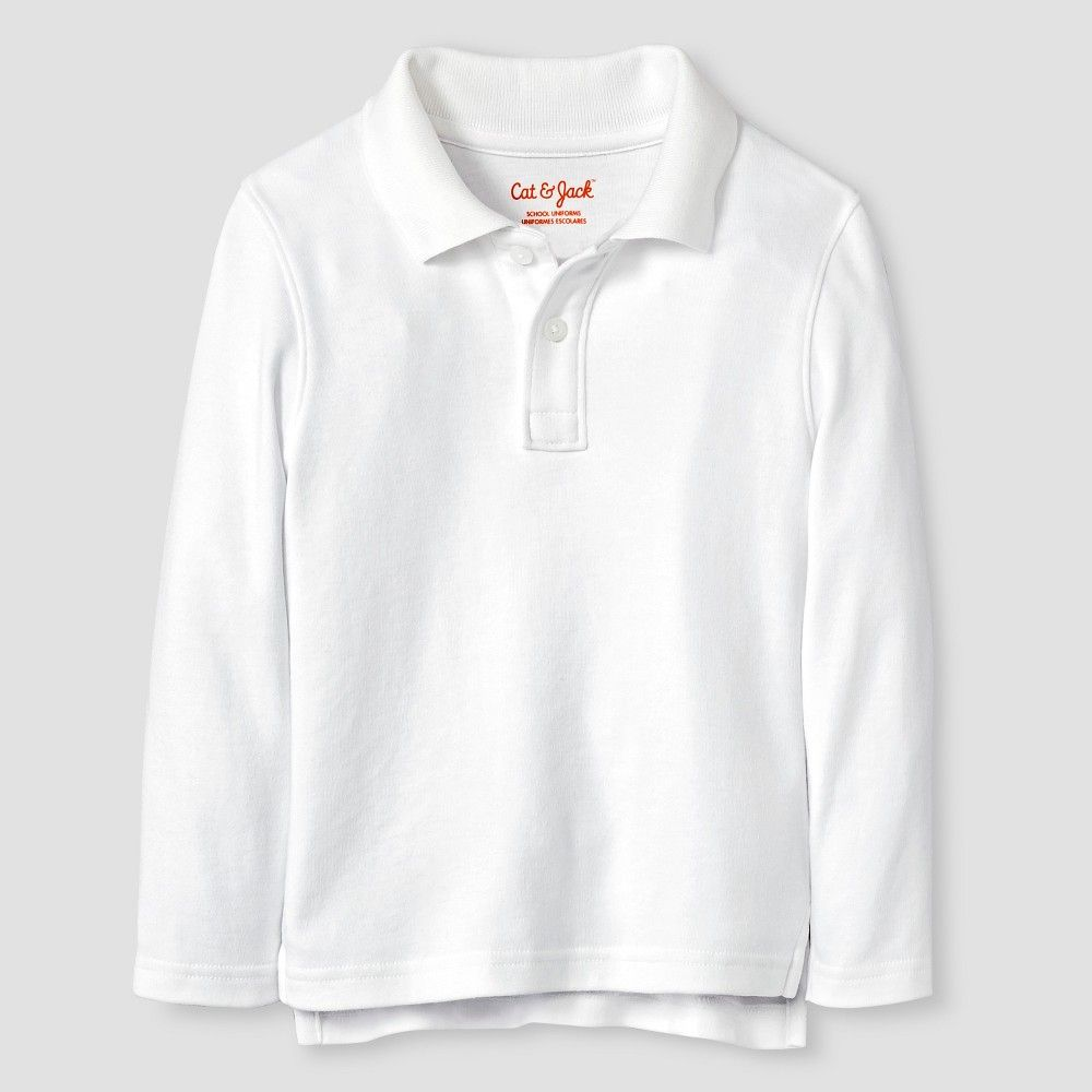 816f3323b Toddler Boys' Long Sleeve Interlock Polo Shirt Cat & Jack - White 4T,  Toddler Boy's