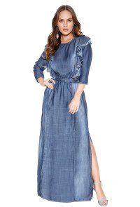 307afb774b Compre Vestido Longo Titanium Jeans Detalhe Desfiados Moda Evangélica.  Entrega rápida e segura. Aproveite