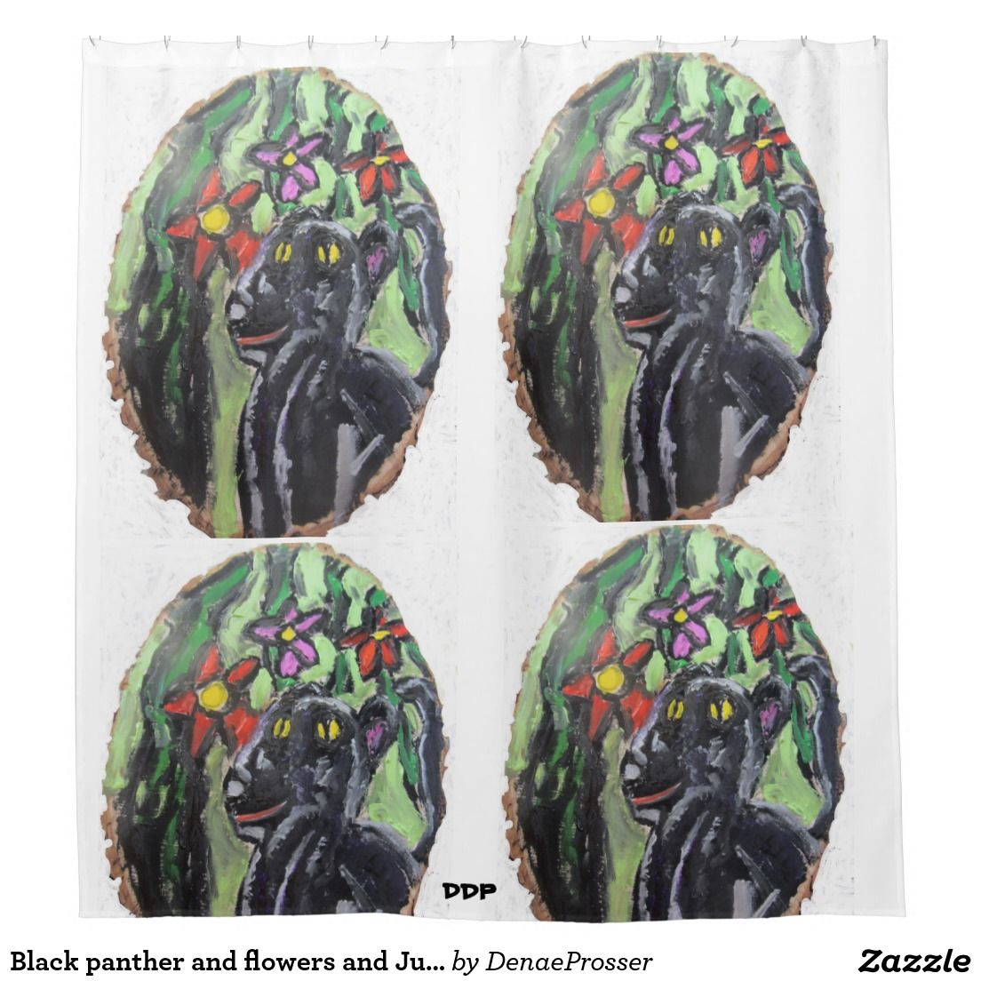 Black panther and flowers and Jungle Shower Curtain