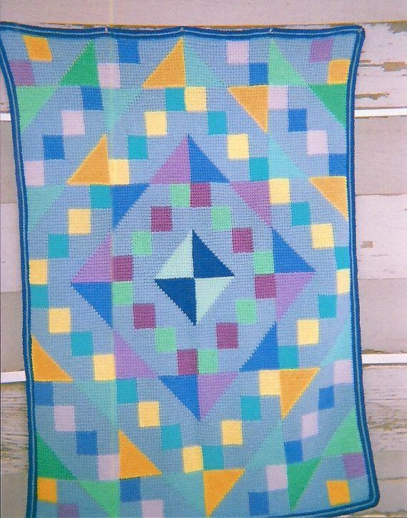 Crocheted Bargello Afghan by TeaRoseHooknNeedle on Etsy | Crochet ...