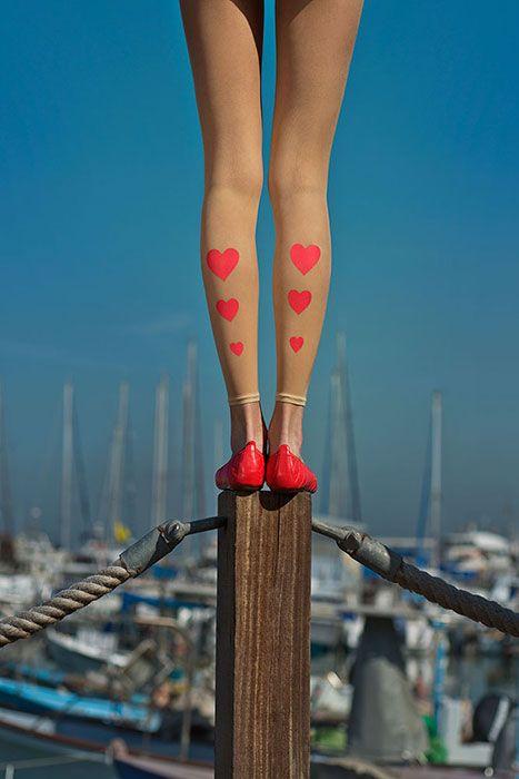 Hearts Print Sheer Footless Tights Powder & Pink