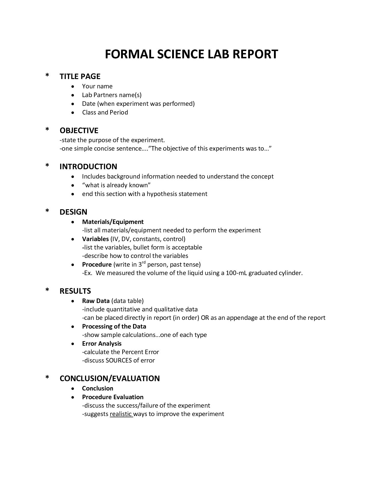Science Lab Reports For Kids Grades 4 Science Lab Middle