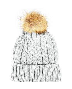 3e0f375213e Grey Cable Knit Faux Fur Bobble Hat