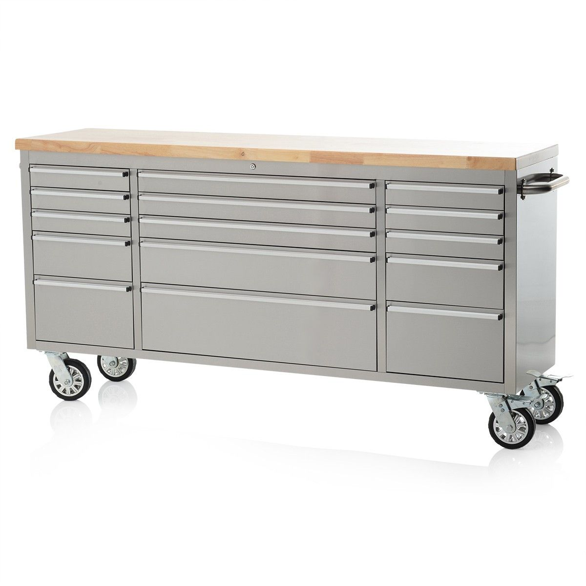 72 Stainless Steel 15 Drawer Work Bench Tool Chest Cabinet Steel Tool Box Stainless Steel Tool Chest Steel Workbench