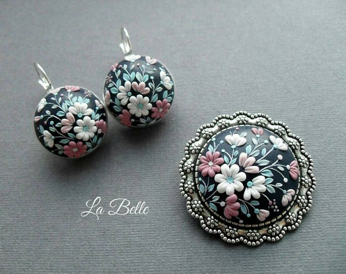 Set earrings and brosh polymer clay embroidery filigree polimer set earrings and brosh polymer clay embroidery filigree polimer clay jewelry in aloadofball Gallery