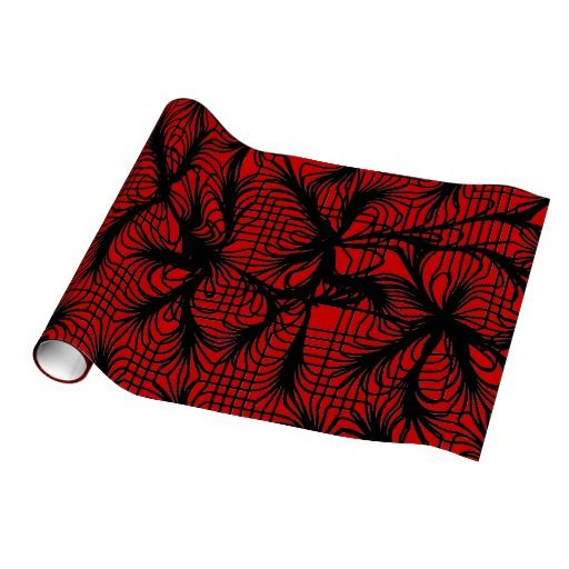 Red and Black Spiderweb Themed Gift Wrap Paper $18.95 Spiderwebs crackling across a red background. Grid lines blend together in pinch points to create a beautiful abstract background. Over red, it lends an air of Asian design.