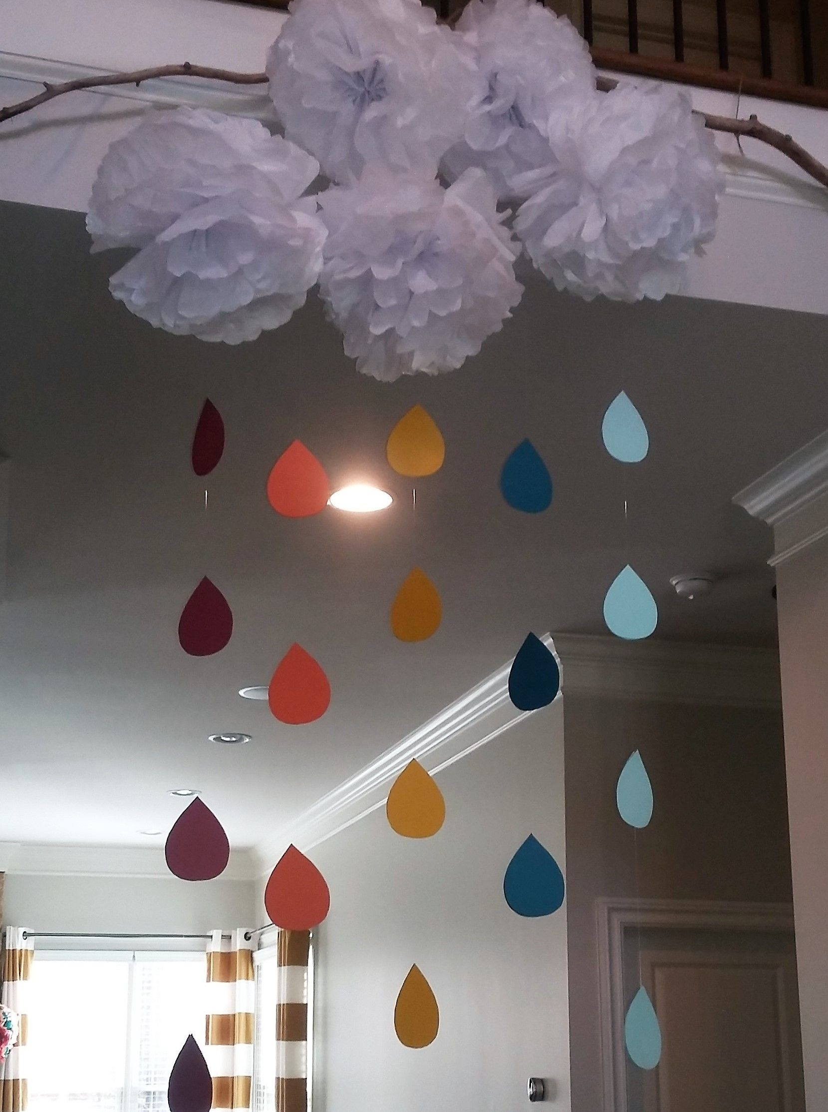 Diy Tissue Paper Clouds And Raindrops Perfect Baby Shower Decor