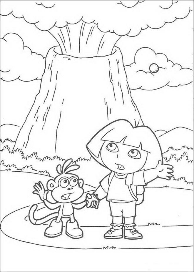 Kleurplaten Van Dora Boots.Kleurplaat Dora De Verkenner Dora En Boots Bij De Vulkaan Little