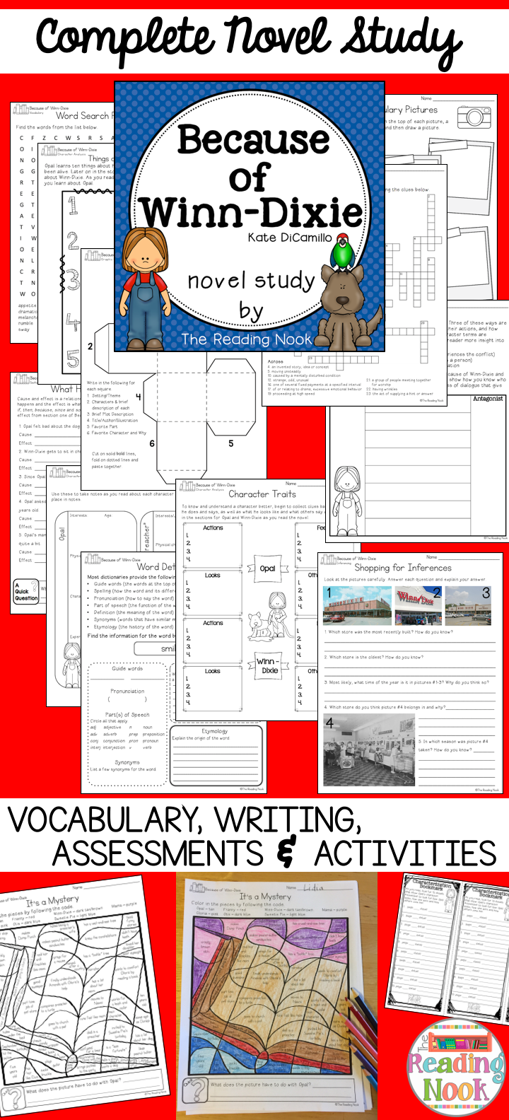 worksheet Because Of Winn Dixie Worksheets because of winn dixie novel study writing assessment novels and complete vocabulary assessments many