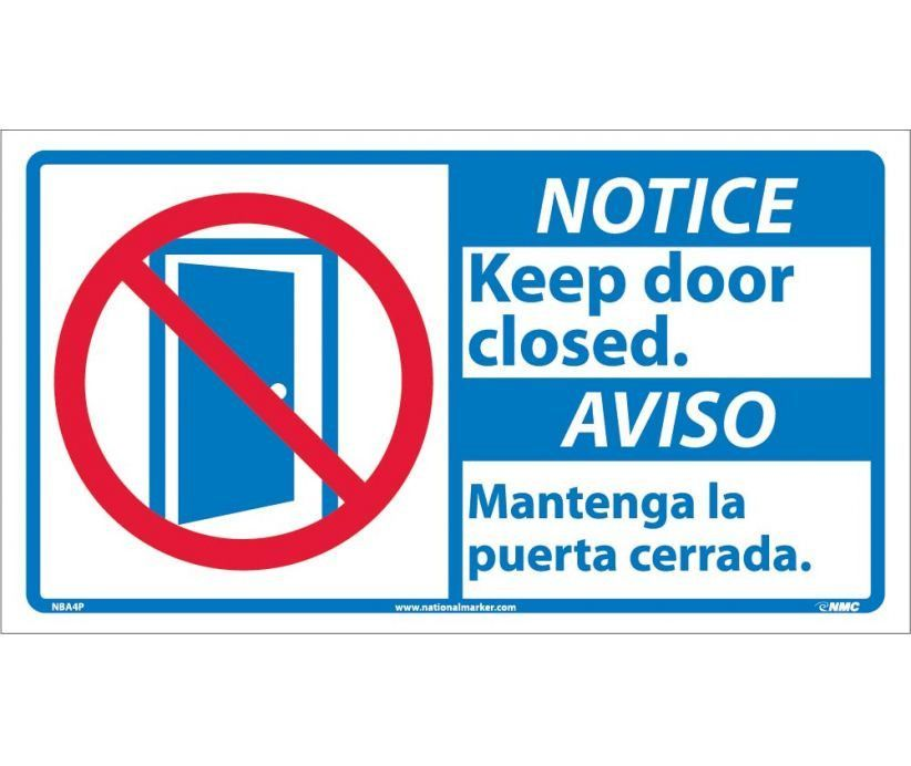 Notice Keep Door Closed Bilingual W Graphic 10x18 Ps Vinyl Aviso