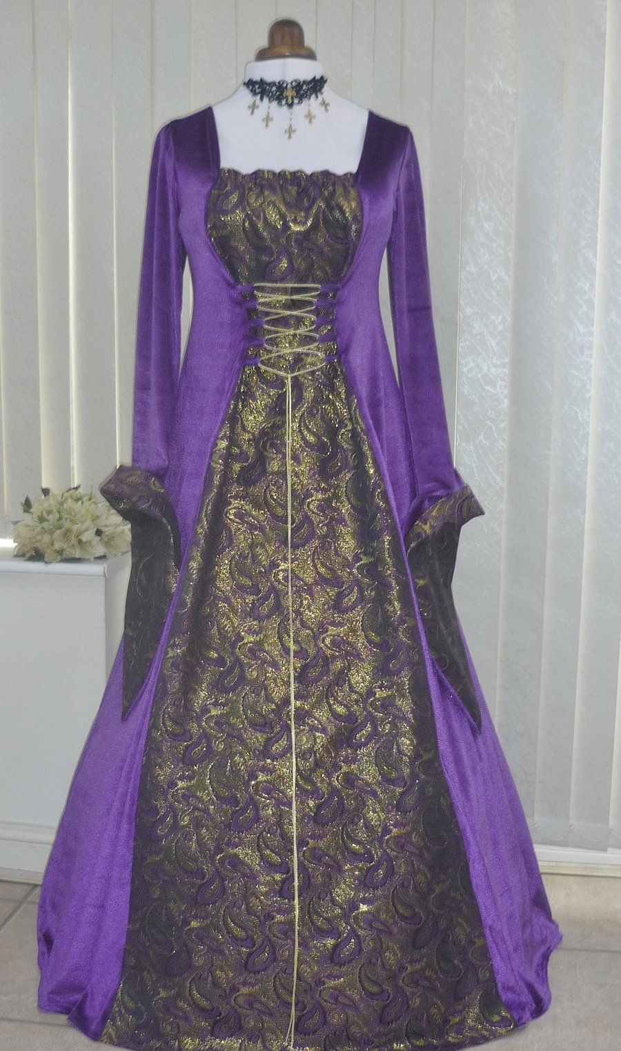 Gothic Medieval Pagan Purple and Gold Brocade Dress | midieval ...