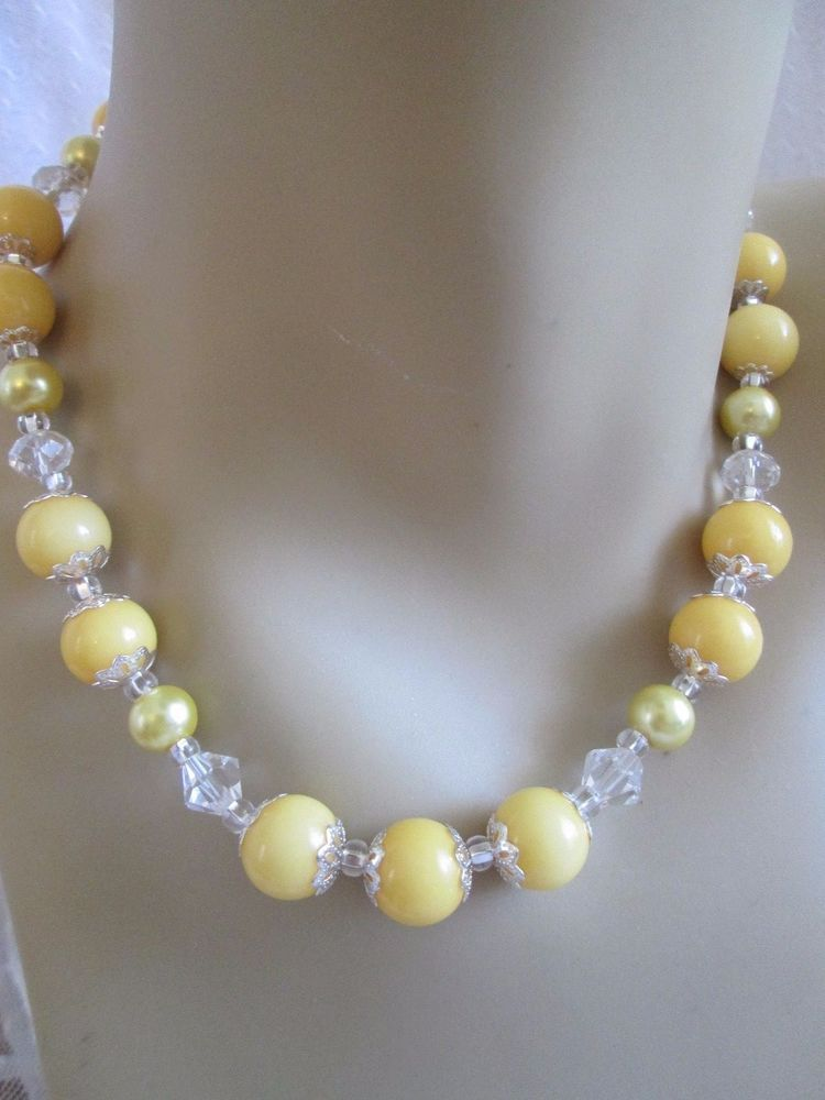 Yellow Vintage Style Beaded Necklace Handmade Pearls Moonglow Glass ...