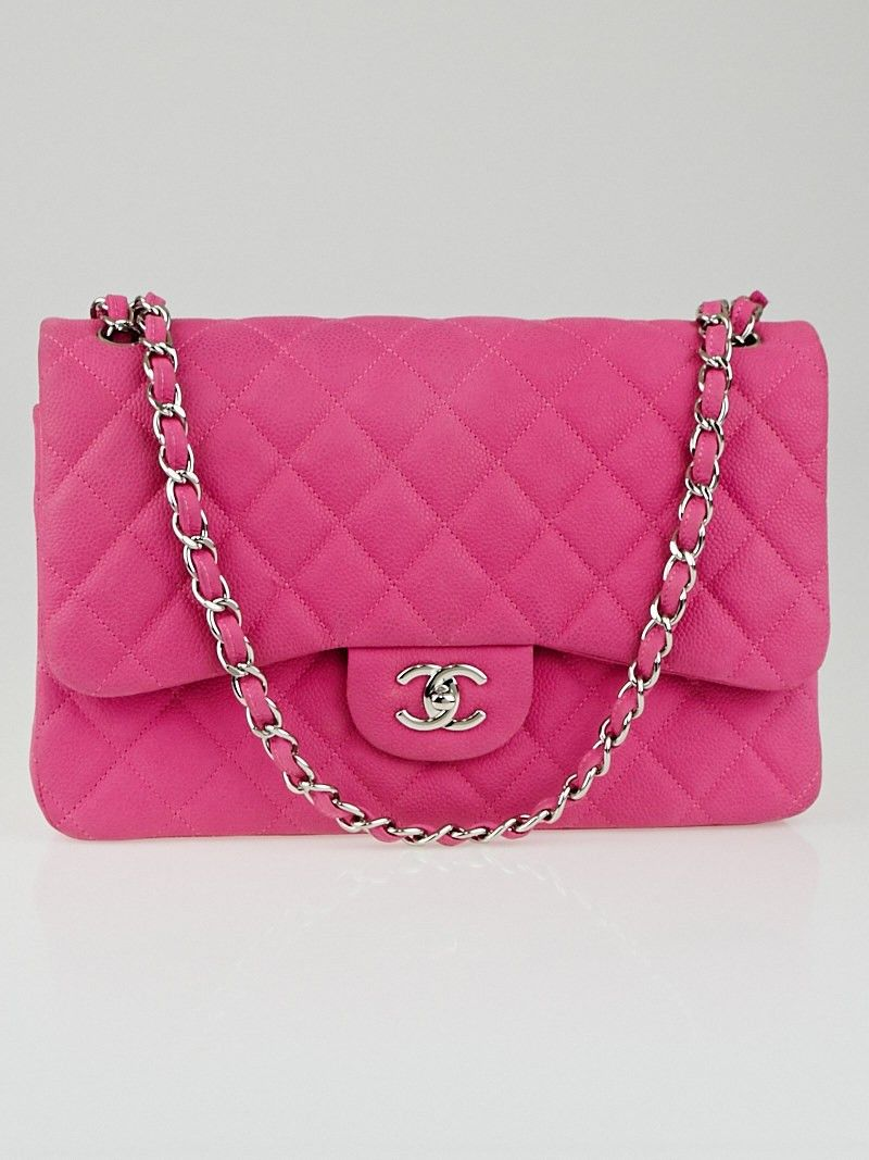 870085197295 Chanel Pink Quilted Matte Caviar Classic Jumbo Double Flap Bag ...