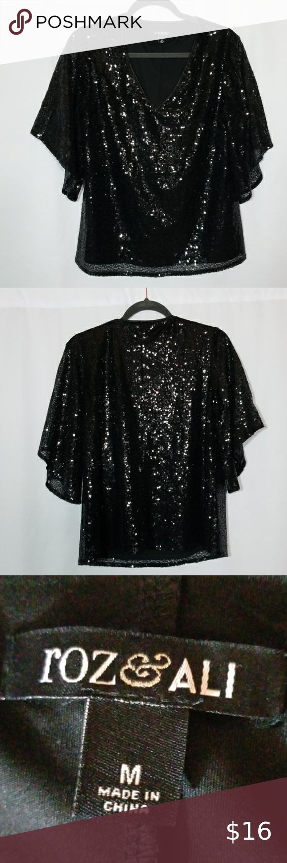 Roz & Ali Sequence Top Blouse Size Medium Beautiful sequence top with flared sleeves! Armpit to armpit is 20 inches laying flat across and shoulder to hem is 24 inches #0374 Roz & Ali Tops Blouses