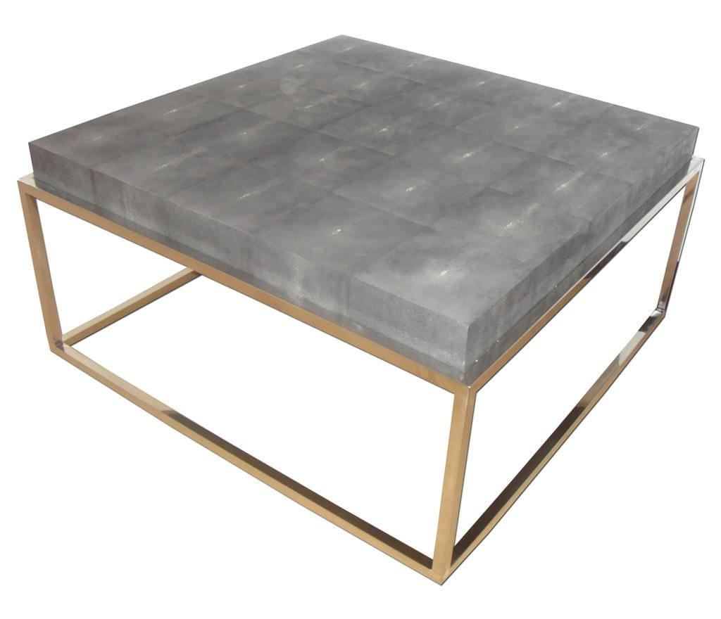 Nice Stingray And Brass Coffee Table. Available In Stainless Steel Base And  Other Colors Of Leather