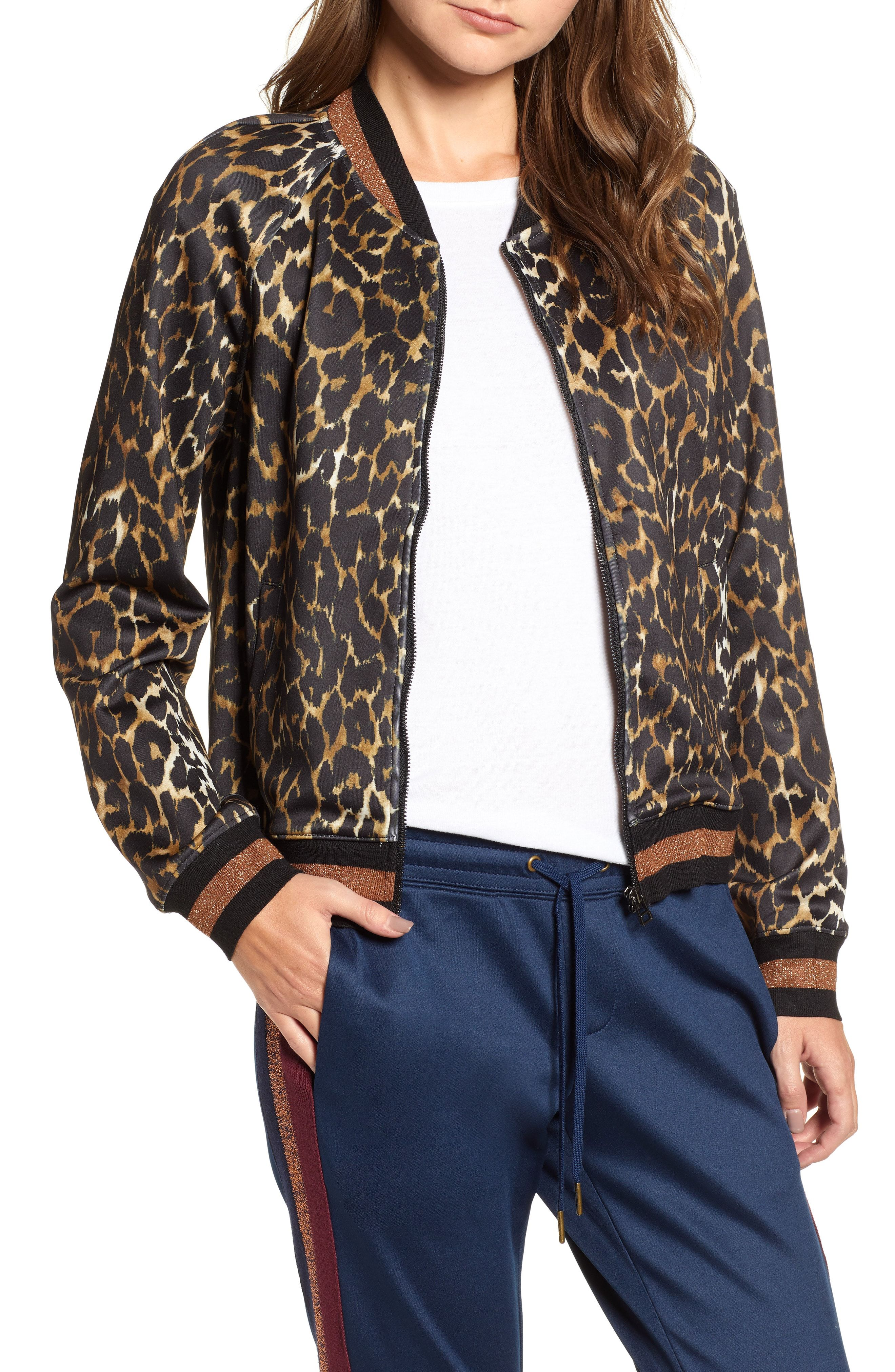 ef7e4e9362a0ba Pam   Gela Leopard Track Jacket available at  Nordstrom
