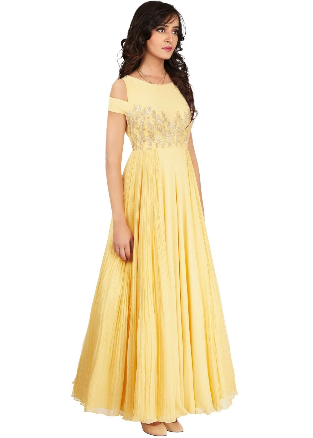 b72dd7f581 Readymade Light Yellow Crepe Indo Western Gown in 2019 | Wear Yellow ...