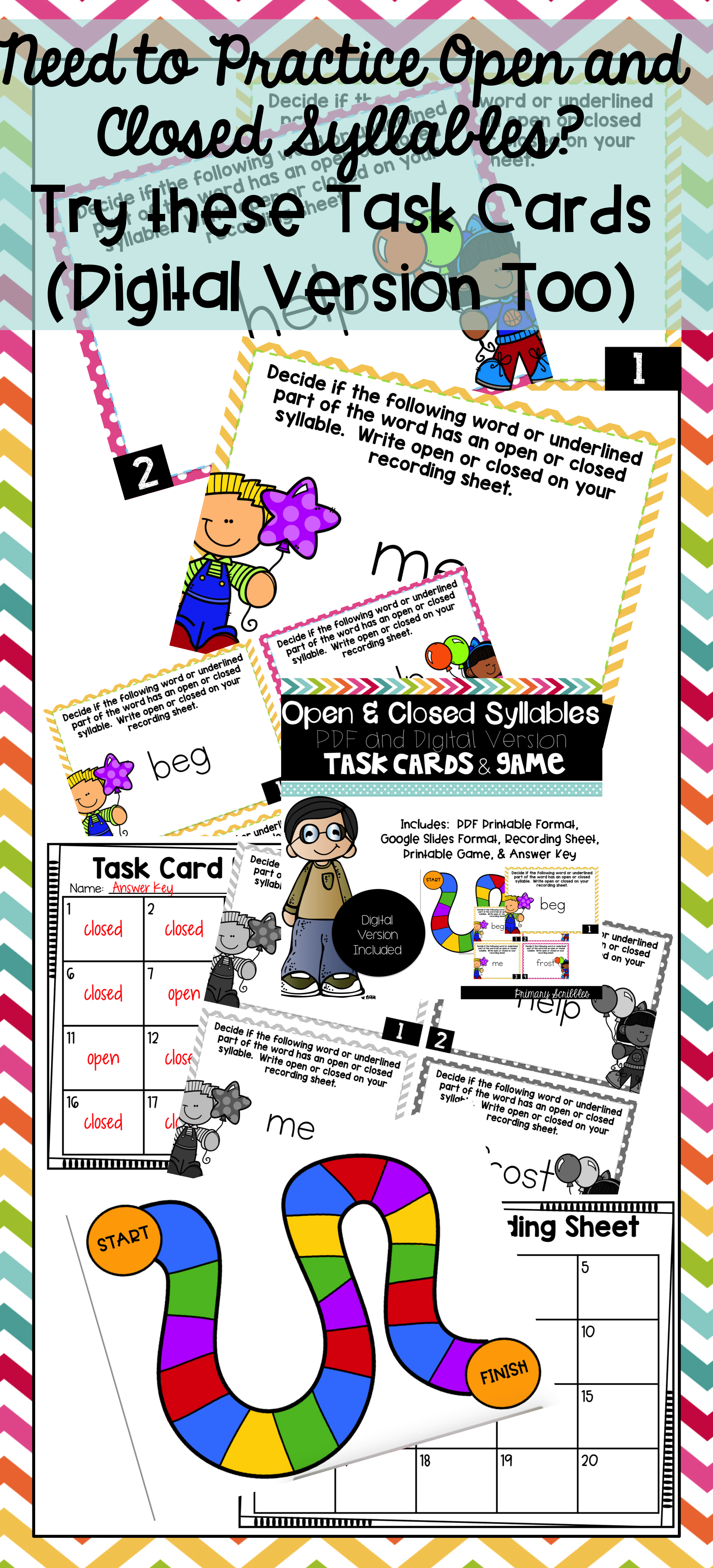 Open And Closed Syllables Task Cards And Game Digital