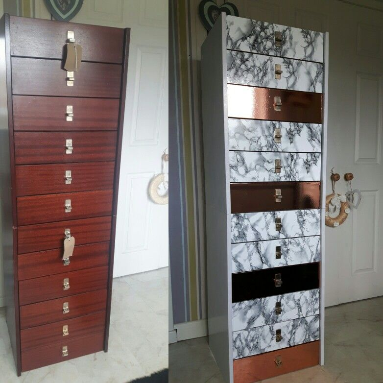 Upcycled Charity Shop Units Covered With Marble And Copper Fablon Charity Shop Upcycle Marble Decor Furniture Update