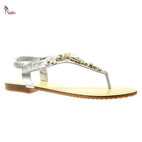 e22d1e03c Angkorly - Chaussure Mode Sandale Tong salomés femme bijoux strass ...