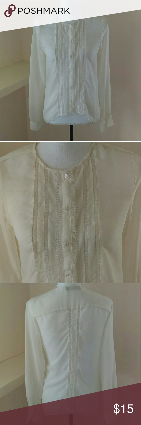 🌼SALE 🌼 Sanctuary Sheer and lace Button Up Top This sheer button up top is off white and has lovely lace detail in the front and back. Sanctuary Tops