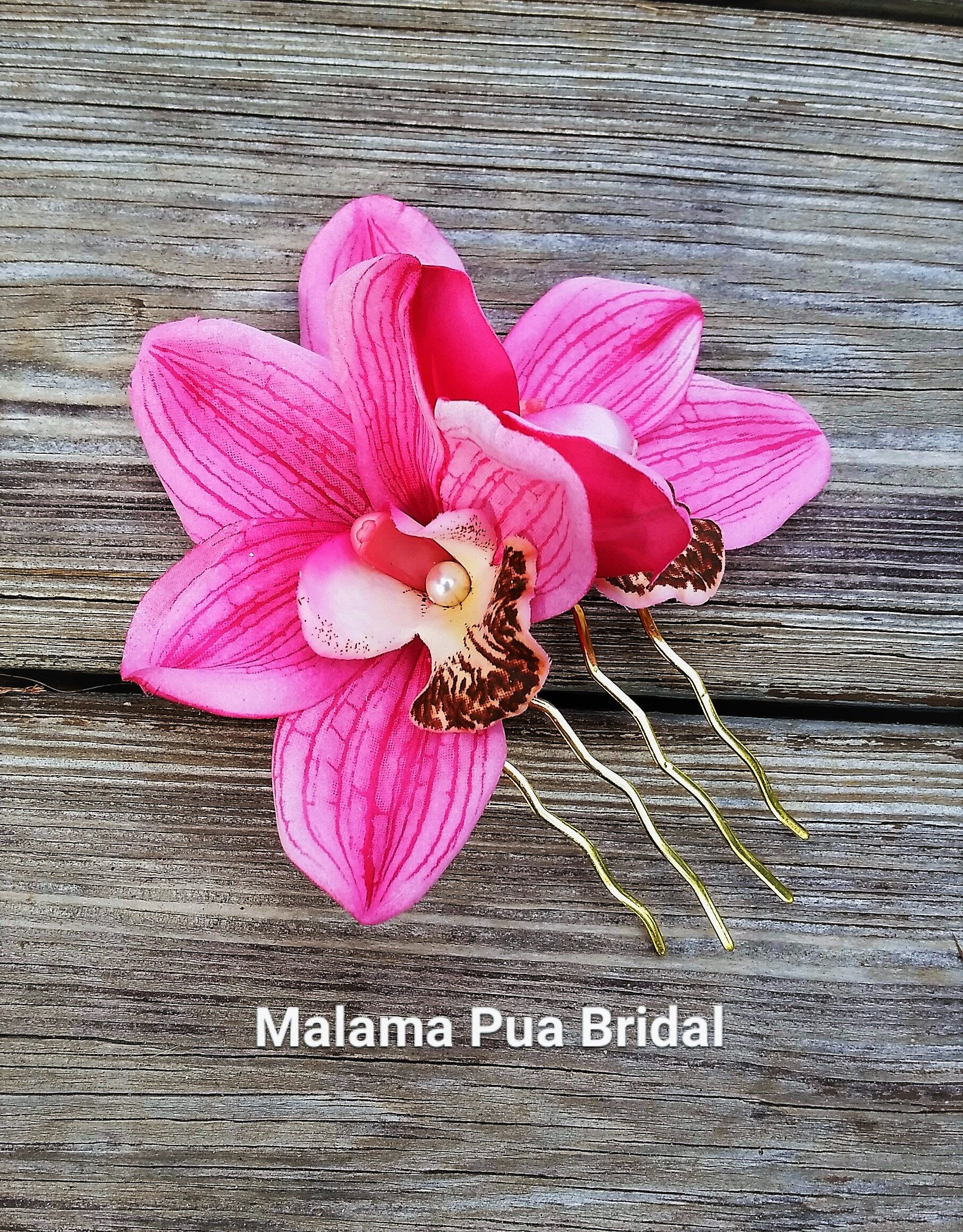 Tropical orchid hair comb pink real touch hair flowers custom hair tropical orchid hair comb pink real touch hair flowers custom hair clip headpiece izmirmasajfo
