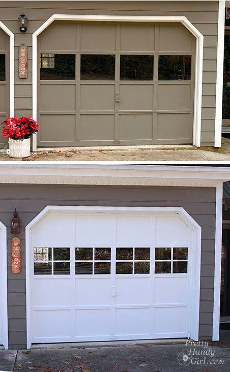 Adding Grilles To Garage Door Windows Door Makeover Diy Single Garage Door Garage Doors
