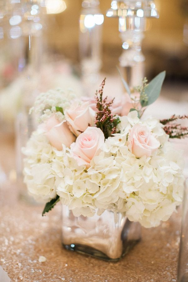 Pink Rose and Ivory Hydrangea Centerpiece | Pink roses, Hydrangea ...