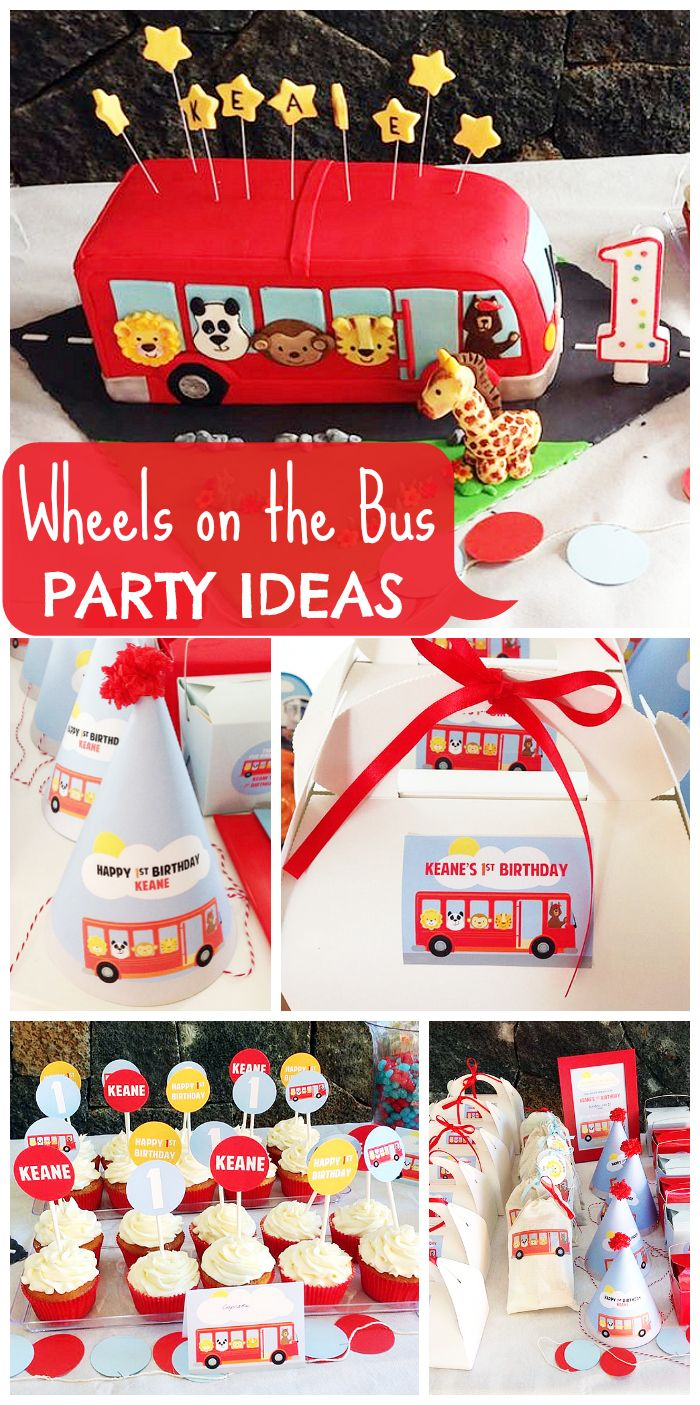 A Fun Wheels On The Bus Themed 1st Birthday Party For Boy Who Loves