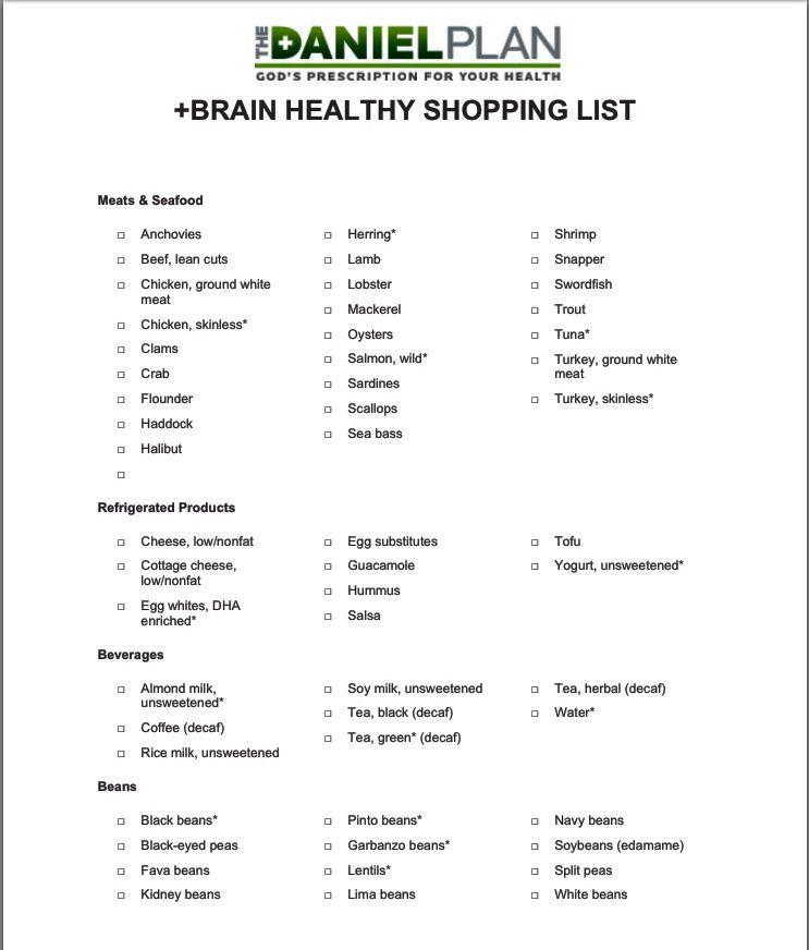 Daniel plan brain healthy shopping list daniel diet