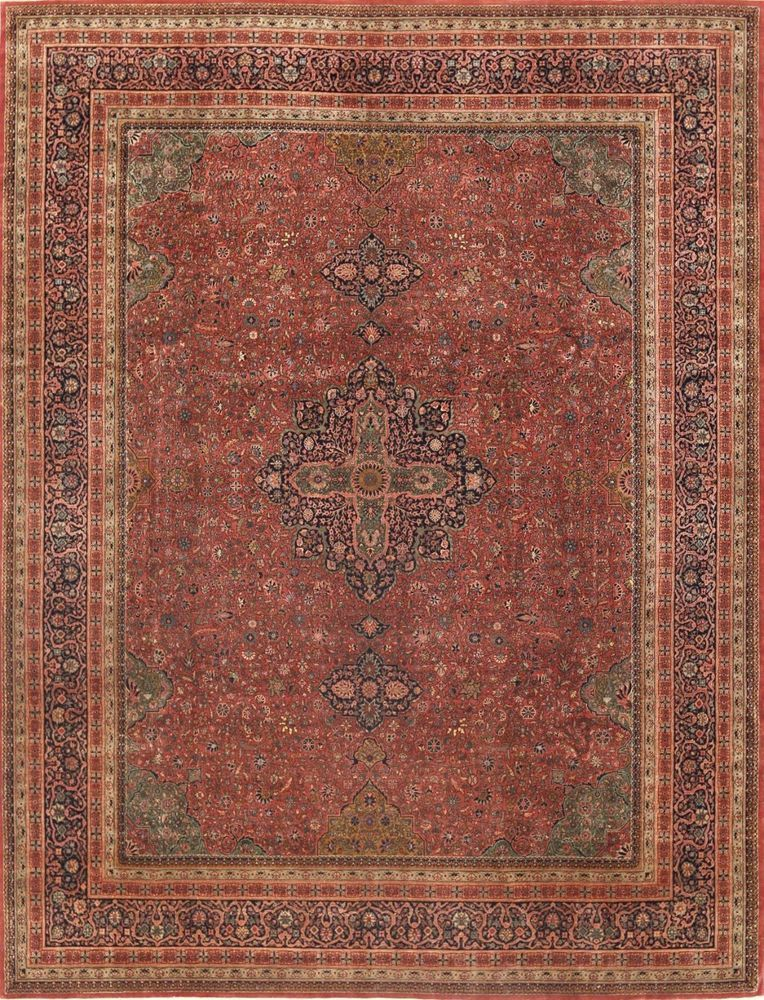 12 X 15 Antique Tabriz Style Hand Knotted Wool Rust Navy Oriental Rug Carpet Oriental Rug Rugs On Carpet Rugs