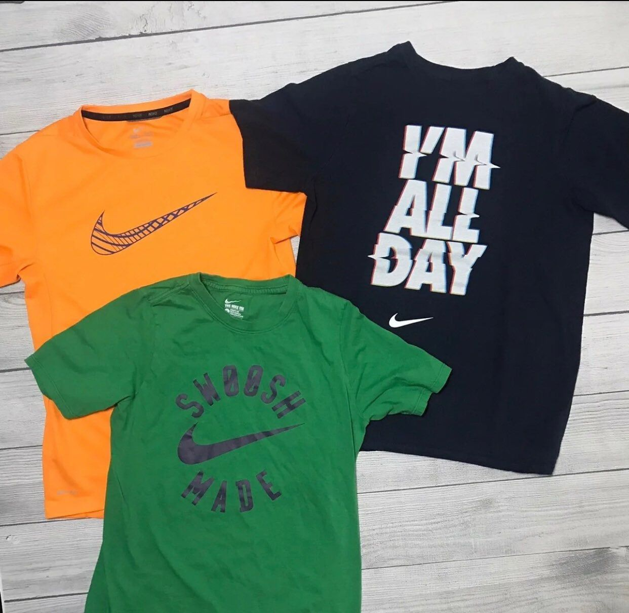 Three Boy S Nike T Shirts Size Large 14 16 Two Cotton Navy Blue And Green And 1 Orange Dri Fit All In Good Condition From A Shirts Shirt Size Nike Tshirt
