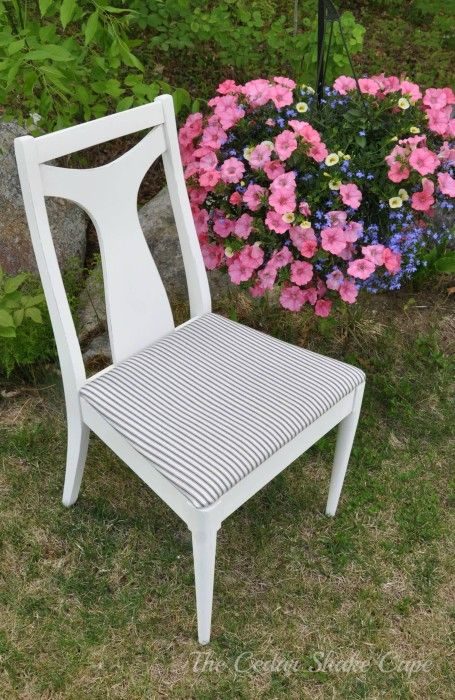 Chair makeover with chalk paint and ticking fabric to give it farmhousue style