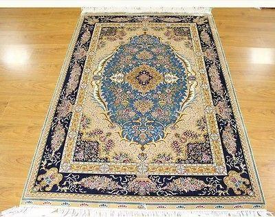 Blue Oriental Handmade Rug Chinese Silk 4 X 6 Exquisite Design New Carpet 4x6