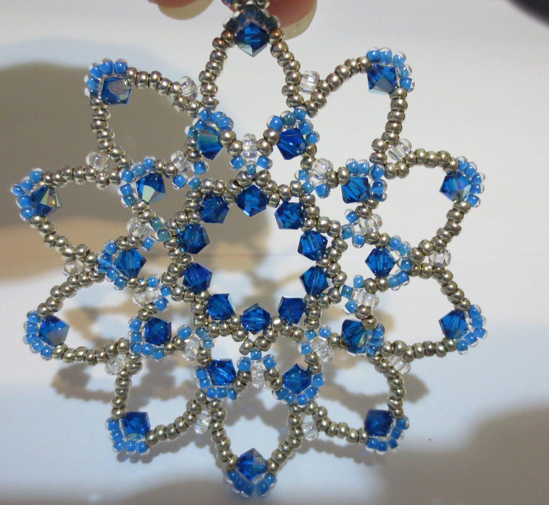 Bead and crystal snowflake ornament .. $12.00, via Etsy.
