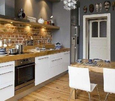 ide relooking cuisine cuisine blanche et grise et plan travail en bois - Cuisine Blanche Avec Plan De Travail Bois