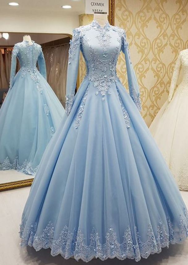 Light Blue Formal Occasion Dress ,Long Sleeves Long Prom Dresses ,Charming Prom Dress, Sexy Prom Dresses,Lace Evening Dress