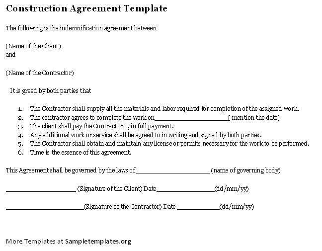 Construction Agreement Template construction agreement template – Construction Agreement Template