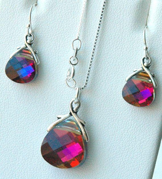 Rainbow earrings Swarovski earrings 18x13 pear earrings