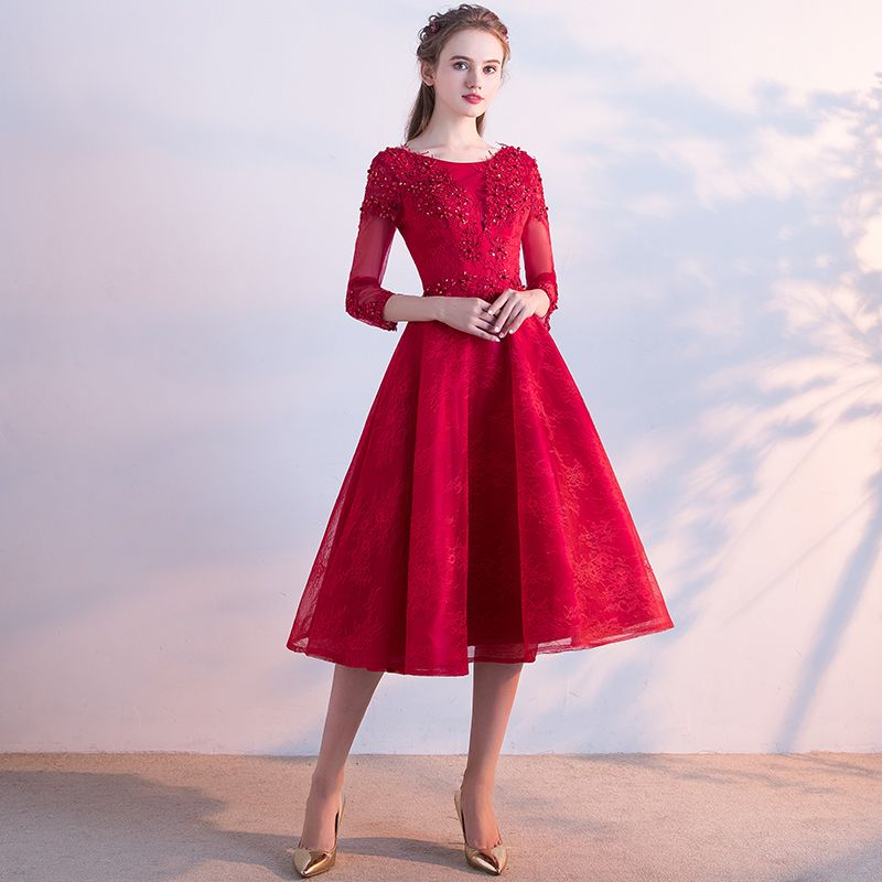 SSYFashion 2017 New Red Lace Evening Dress The Bride Banquet Elegant Party  Gowns Tea length 3 4 Sleeved Formal Dresses Custom-in Evening Dresses from  ... df555c33b9a0