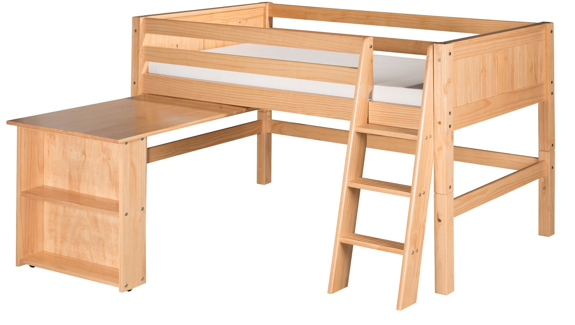 Kids low loft bed  Found it at AllModern  Low Loft Bed with Retractable Desk and Panel
