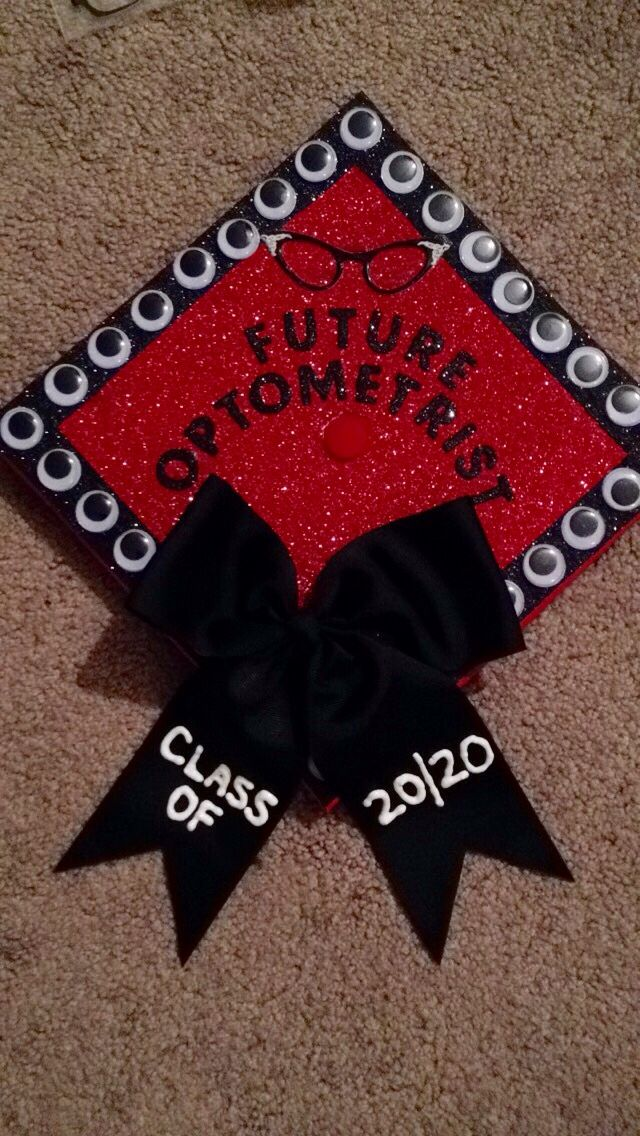 Cap 2020 Ideas Graduation cap design. Future optometrist. Class of 2020. Red and