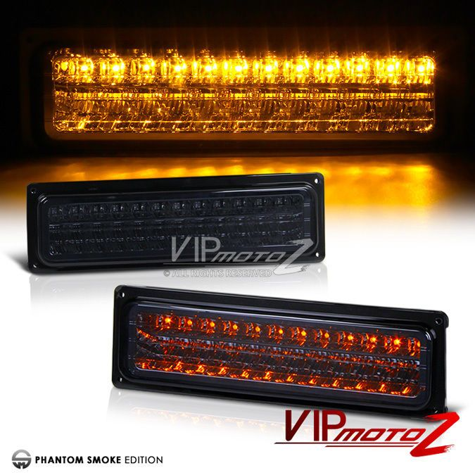 Details About Dark Smoke Amber Led Signal Parking Bumper Lights Lamps Chevy Gmc C K Suburban Dark Smoke Chevy Lamp Light
