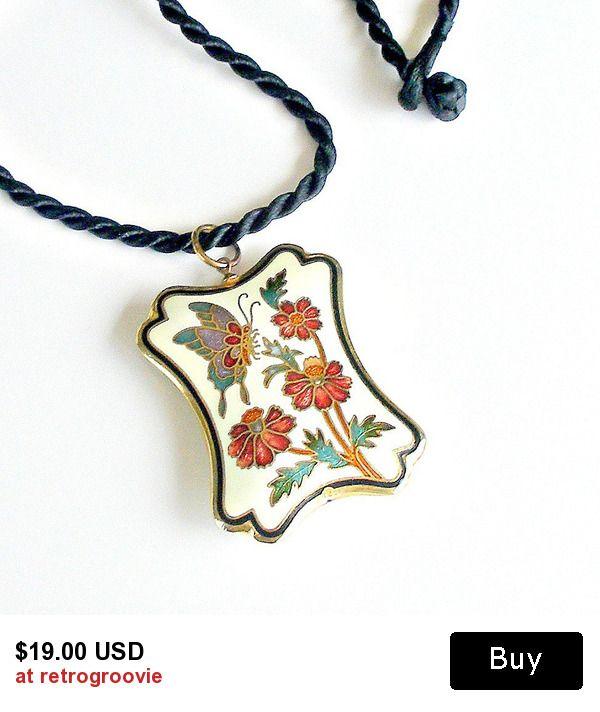 Vintage Cloisonne Pendant Necklace Flowers & Butterfly Pendant on Silk Cord