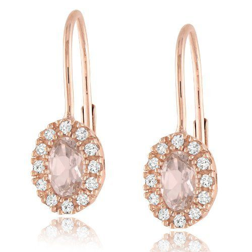 10k Rose Gold Morganite And Diamond Leverback Earrings 0 12 Cttw G H Color I2 I3 Clarity Amazon Curated Collect Jewelry Stud Earrings Diamond Earrings Studs