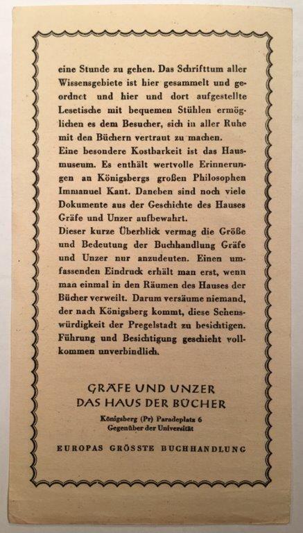 """Königsberg i. Pr. - """"Das Haus der Bücher"""" GRÄFE UND UNZER am Paradeplatz 6, Lesezeichen (Rückseite), ca. 1933"""